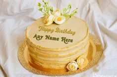 Beautiful Yellow Birthday Cake With Your Name Beautiful Flowers Images, Flower Images, Yellow Birthday Cakes, Special Birthday Wishes, Cake Templates, Cake Name, Names, Desserts, Food