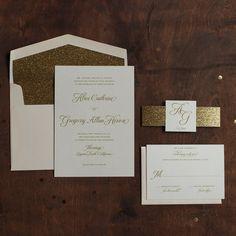 Glitter Wedding Invitation Gold and Blush by JenSimpsonDesign