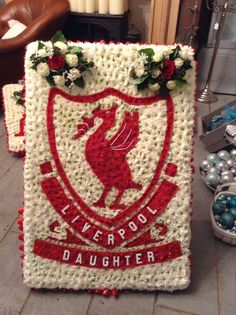 Funeral flowers Liverpool football badge
