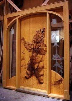 Our Wood Carved Entry Doors - Rustic Wood Entry Doors, Entrance Doors, Wooden Doors, Doorway, Front Doors, Cool Doors, Unique Doors, 3d Cnc, Wooden Door Design