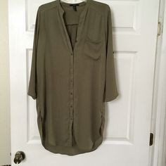 Olive shirt dress Worn 2-3 times. You can roll up the sleeves if  you'd like. Not from listed brand Brandy Melville Dresses