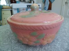 Vintage 1940's/50's Hull Pottery Sunglow Pink Covered Casserole Dish~Pretty Cottage Chic!