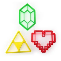 Celebrate your love for Legend of Zelda by making cookies in the shape of the Triforce, a health heart, and a rupee! - Handmade - 3D Printed with ABS - Dishwasher safe Plastic cookie cutter ideal for