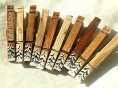 WINTER TREES CLOTHESPINS hand painted natural wood magnets Christmas decor by SugarAndPaint on Etsy