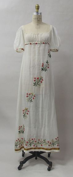 Dress, ca. 1805, French, cotton, wool, metal. In the Metropolitan Museum of Art collection.