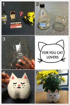 DIY CAT PLANTER-What you'll need: empty 2-liter plastic bottle, paintbrush…