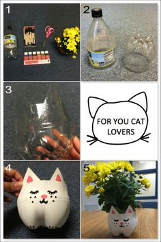 DIY CAT PLANTER-What you'll need: empty 2-liter plastic bottle, paintbrush, scissors, acrylic paint, and flowers. How to make it: Cut the plastic bottle about 1/3 of the way up the bottle. Skillfully trace and cut two triangles to create the cat's ears. Paint the entire outside of the bottle white. After the white paint dries, paint on the ears, nose, mouth, eyes, whiskers and paws. Put in your favorite flowers, and enjoy your cat planter!