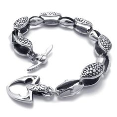 21 cm Hot sell personality fashion silver stainless steel bracelet charm unisex handsome bracelet accessories 075037