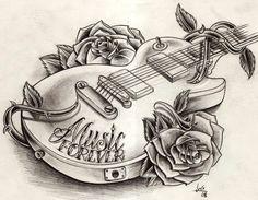 Tattoos Sketch, Guitar #tattoo #tattoossketch #sketch