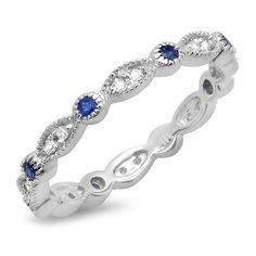 Sapphire and Diamond Vintage Style Band14k White Gold JewelryClick here for ring sizing guide