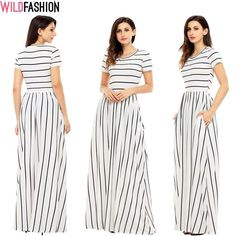 Ce zici de această rochiță? Dungile verticale vor da iluzia ca ești mai înaltă și mai suplă... ;) 👗✨👇 Short Sleeve Dresses, Dresses With Sleeves, Mai, Spandex, Casual, Model, Fashion, Moda, Gowns With Sleeves