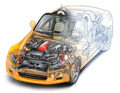 Automotive and product cutaway technical illustration Honda S2000, Honda Civic, Cutaway, Japan Cars, Mystery, Car Posters, Automotive Industry, Car Pictures, Dream Cars
