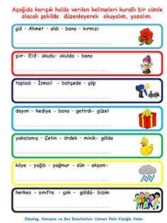 ODYOLOG, KONUŞMA ve SES BOZUKLUKLARI UZMANI PELİN KİŞİOĞLU KALAN: KELİMELERDEN KURALLI CÜMLE OLUŞTURMA ETKİNLİĞİ Learning Cards, Turkish Language, Worksheets, Teaching, Books, Libros, Literacy Centers, Learning, Book