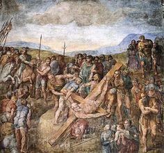 La Crucifixión de san Pedro es un fresco del pintor renacentista italiano Miguel Ángel. Fue ejecutado entre 1546 y 1550 en la pared de la Capilla Paulina del Palacio Apostólico, en la Ciudad del Vaticano.  Ubicación: Capilla Paulina Fecha de creación: 1546–1550 Tema: Simón Pedro, Crucifixión