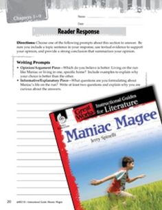 Example Response Maniac Magee is a fiction book  In the fiction category  I believe