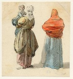"""Two women, one carrying a child"" by Paull Sandby, one of the sketches made in Edinburgh and the neighbourhood after the rebellion of 1745. British Museum, Accession #Nn,6.31"