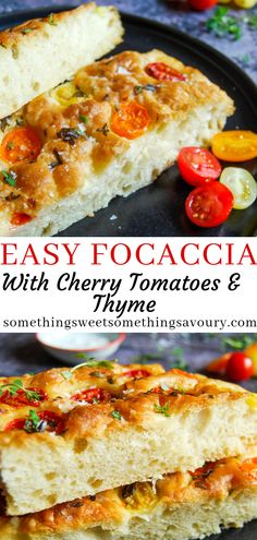 foccacia bread This easy Focaccia bread is addictive - crisp, chewy and studded with fresh tomatoes and sprinkled with fresh thyme and crunchy sea salt! Easy Bread Recipes, Banana Bread Recipes, Baking Recipes, Scd Recipes, Baking Tips, Italian Recipes, Recipies, Foccacia Recipe, Focaccia Bread Recipe