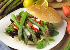 California Asparagus Sandwich with Roasted Red Pepper, Mozzarella, Pancetta, and Lemon Aiola