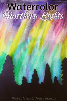 Pretty Northern Lights paintings with watercolors & tree silhouette – art & painting for kids Source by pfchico Light Painting, Painting For Kids, Painting Art, Painting Videos, Painting Tutorials, Winter Art Projects, Art Project For Kids, Fun Projects, Videos Photos