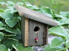 Rustic Recycled Wood Miniature Birdhouse - upcycled slant roof bird house - reclaimed barn wood $12.00