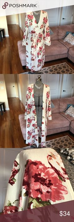 XS, S, M, L CREAM FLORALPRINT LONG BOHEMIAN KIMONO New with tags! Super cute! Sorry the pictures are a little dark the sun was going down! Thanks for visiting my closet! Sweaters Cardigans