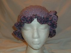 Handmade Crochet Cloche 1920's Flapper Inspired Hat - SHADES of LAVENDER -Lilac, Plum - Ruffle Brim - Rose Flower - Beanie Winter Christmas by MyLifeIsAHighway on Etsy