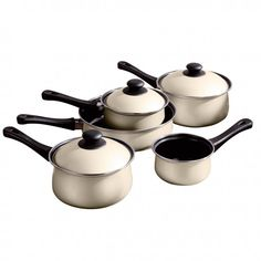 Cream Belly Pan Set, Non-Stick Carbon Steel, Bakelite Handles Pots And Pans Sets, Neutral Kitchen, Kitchen Time, Pan Set, Cookware Set, Updated Kitchen, Cooking, Cream, Saucepans