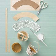 Doily-Trimmed Basket - Martha Stewart Holiday & Seasonal Crafts how-to make diy paper miniature basket tiny Doilies Crafts, Paper Doilies, Paper Doily Crafts, Diy And Crafts, Crafts For Kids, Arts And Crafts, Easter Crafts, Paper Flowers, Tea Party