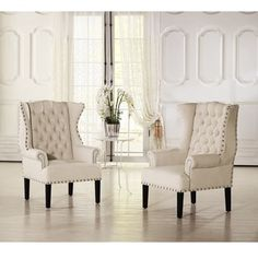 baxton studio patterson wingback beige linen and burlap nailhead tufted accent chair chairbeige foam