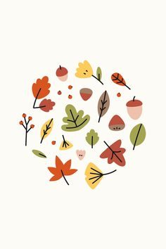 Autumn Illustration, Plant Illustration, Cute Illustration, Digital Illustration, Posca Art, Leaf Drawing, Fall Wallpaper, Free Illustrations, Pattern Wallpaper