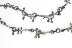 Necklace – Oxidised silver, 18ct, diamond bead  Adele Taylor