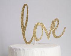 Glitter love Cake Topper - You pick the Color