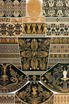 Greek pattern from L& Polychrome by Albert Racinet Digitally enhanced from our own original 1888 edition. Ancient Greek Art, Egyptian Art, Greek Pattern, Pattern Art, Art Antique, Antique Prints, Pottery Patterns, Art Chinois, Art Ancien