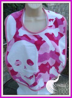 Skull print in pink adult bib you can still by TheFuchsiaPhoenix