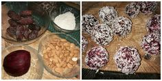 4 good and healthy ingredients .  Almond 1 dl  , cocos 1dl  , dadels 10   and beetroot 1  . Have lots of antioxydanter . Good for high bloodpresser . Just put it in a foodprocesser , turn then into 15 balls and have some cocos around them .  You can chop it in smaller peaces first .