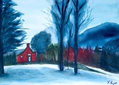 Snow In Vermont By Frank Bright - Painting - Watercolor