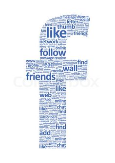 'Illustration of the letter F, which is composed of words on social media themes'