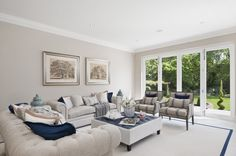 White and Blue Family Room #interior #design  - By Alexander James Interiors