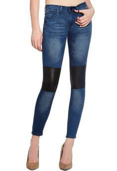 A modern update on the classic skinny, Patched Skinny by JustFab pulls style cues from the moto trend. Cool and edgy, it's all about the vegan leather patch details (that are seriously super trendy!)