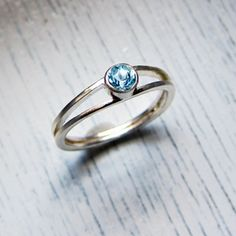 Modern engagement ring - sterling silver - aquamarine or white topaz-modern engagement ring - eco friendly - white topaz ring - aquamarine r...