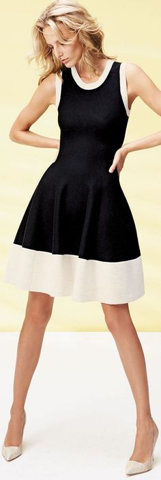 Black-and-white color-block sweater dress. Kate Spade New York