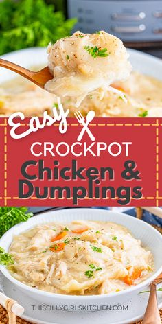 Cooked low and slow, this super comforting and cozy Slow Cooker Chicken and Dumplings is a family favorite meal that will fill you up and make you happy! This easy Crockpot inspired recipe from This Silly Girl's Kitchen is great for busy nights when you need dinner cooking while you're away from home. I love starting this before church for Sunday Supper! Large Slow Cooker, Sunday Suppers, Tasty, Yummy Food, Chicken And Dumplings, Slow Cooker Chicken, Crockpot, Cravings, Fill