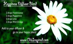 Happiness Diffuser Blend: 2 drops frankincense, 2 drops peppermint, 2 drops lime, 2 drops wild orange. http://www.mydoterra.com/renitafullam/ doTERRA essential oils Renita's Verdict: Love it!!