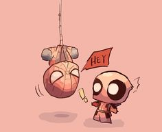 Spider-Man and Deadpool. Deadpool Chibi, Deadpool X Spiderman, Cute Deadpool, Chibi Marvel, Marvel Art, Marvel Dc Comics, Marvel Heroes, Dead Pool, Baby Wunder