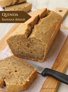 Yummy Quinoa Banana Bread-possible subs: coconut oil and coconut milk for dairy, maybe c maple syrup or honey for sugar? Or use coconut sugar. Dessert Sans Gluten, Bon Dessert, Gluten Free Recipes, Vegan Recipes, Cooking Recipes, Honey Recipes, Bread Recipes, Healthy Baking, Healthy Desserts