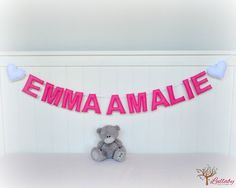 Personalized felt name banner wall art nursery decor - nursery decor - pink - MADE TO ORDER by LullabyMobiles on Etsy