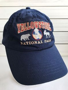 Yellowstone National Park Bear Moose Geyser Blue Red Strapback Cotton Hat  Cap  PolarGraphicsUSA  BaseballCap fb589f491747