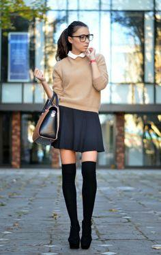 Pumps + knee-high socks + flared skirt + elbow-length sweater + peter pan collar