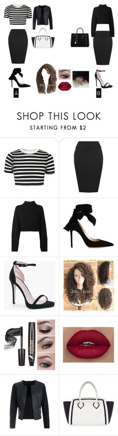 """""""Tonya Basic Bodycon Pencil Skirt: Which one do you like? A or B?"""" by treacey-pooh on Polyvore featuring Topshop, WearAll, DKNY, Gianvito Rossi, Boohoo, Furla and Yves Saint Laurent"""