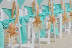 Beach Weddings - Aisle decor - elegant. Grab a good looking size chunk of raffia and fold into a loop and tie it off. Then attach about three strands of raffia to the back of the starfish using E6000 (hot glue would melt in the heat). Then using those few pieces of raffia tie the starfish onto the raffia loops.
